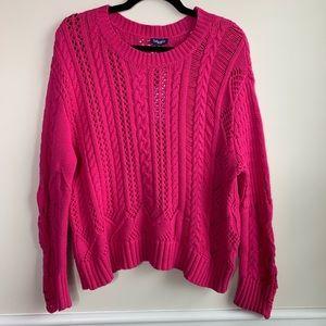 Splendid pink fuchsia cable knit sweater size M